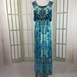 Slinky Blouson Sequin Trim Sleeveless Maxi Dress